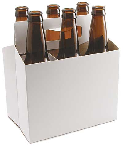 Blank 6 pack holder for 6 pack beer carrier template