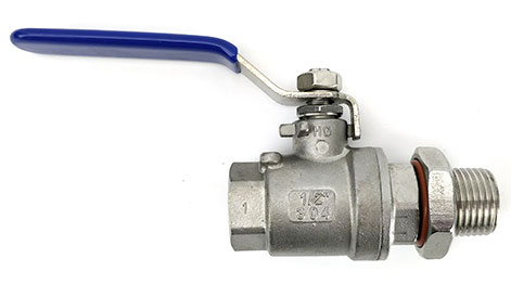 "1/2""  Stainless Valve With Bulkhead"