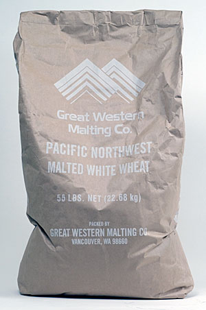 55 Lbs. Great Western White Wheat Malt (Actual Shipping Item)